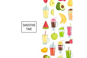 Vector flat smoothie elements