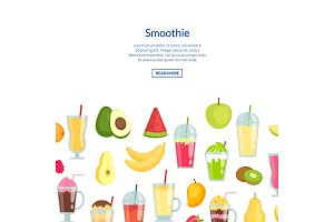 Vector flat smoothie banner with