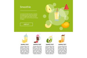 Vector flat color smoothie page