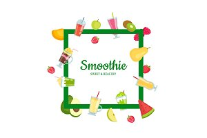 Vector flat smoothie elements with
