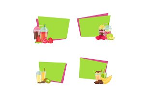 Vector flat smoothie stickers with