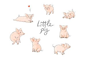 Little pigs cute collection