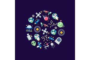 Vector flat space icons in circle