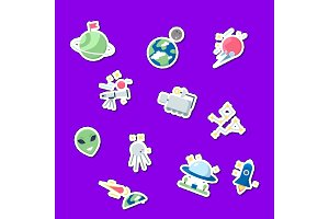 Vector flat space icons stickers set