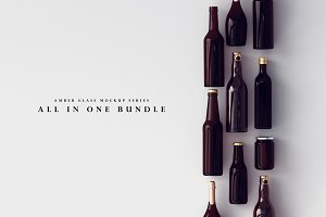 Amber Glass Bottle Mockup Bundle