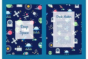 Vector flat space icons card or
