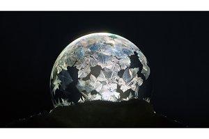 Frozen bubble close-up, winter