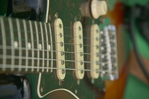 Detail of an electric guitar