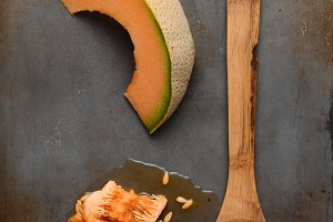 Cantaloupe and Wood Spoon