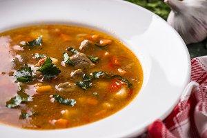 Traditional Hungarian goulash soup