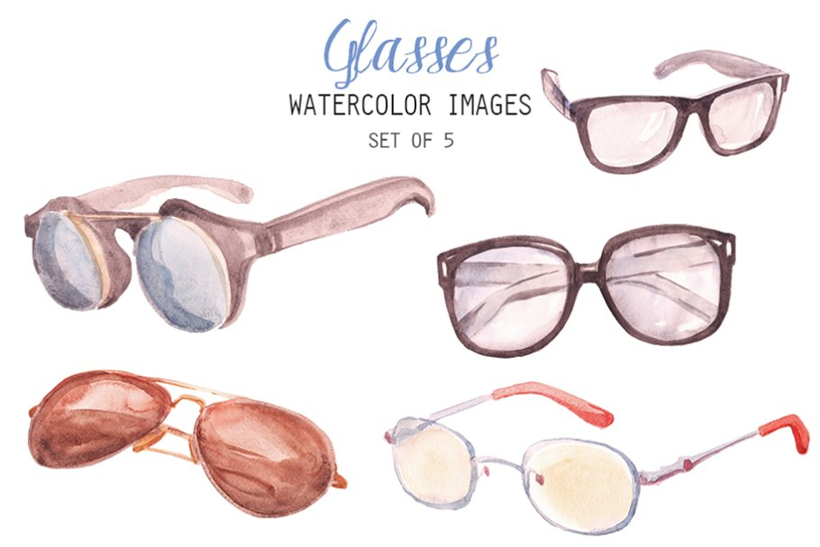 d8e514b45e6 Watercolor Glasses Clipart ~ Illustrations ~ Creative Market