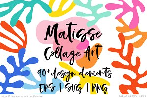 Matisse style collage art, vector