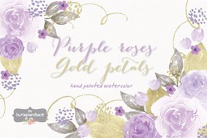Purple roses, gold petals watercolor