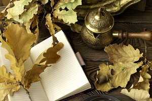 Diary, autumn oak leaves and Turkish
