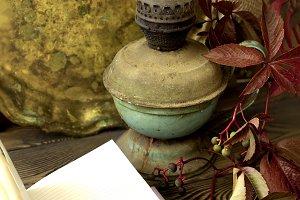 Old kerosene lamp and tray ,open not
