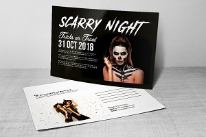 Scarry Halloween Party Postcard