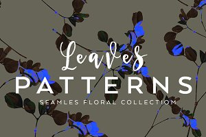 4 Seamless fashion leaves patterns