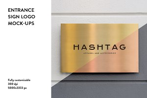2x Gold entrance sign logo mock-up