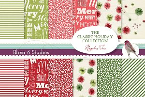 Retro Holiday Digital Papers