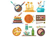 Illustrations of food in the cooking