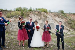 Wedding couple, groomsman and brides