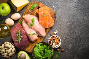 Ketogenic low carbs diet on dark