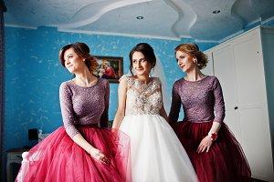 Beautiful bride posing with bridesma