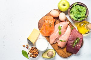 Ketogenic low carbs diet on white.