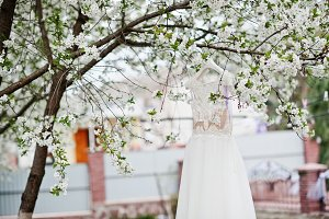 Wedding white dress hanging on the b