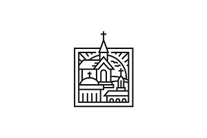 Mono Line Three Church Logo Design