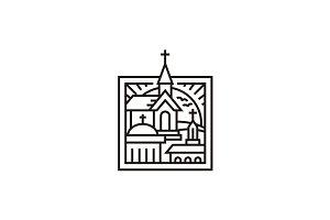 Mono Line Three Church Logo Design
