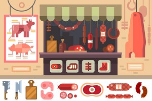 Variety of food in the butcher shop