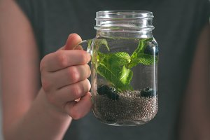 Chia detox water in woman hand