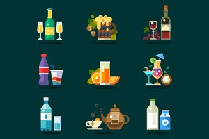 Vector drink icon set