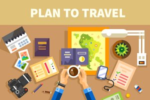 Plans for the trip. Set of traveler