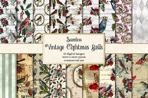 Vintage Christmas Bird Digital Paper