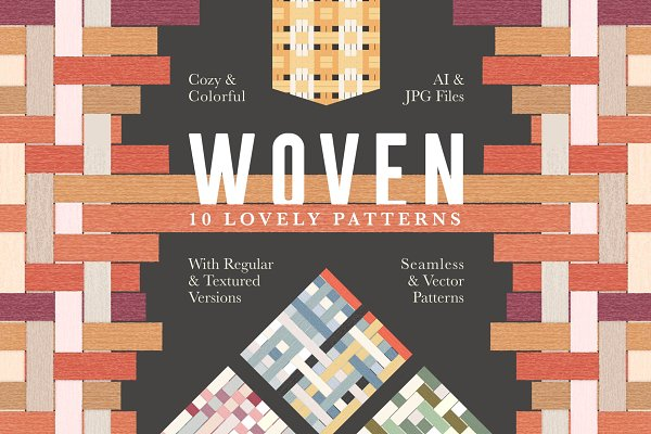 Patterns: Anugraha Design - Woven Seamless Vector Pattern Set