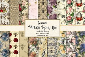 Vintage Honey Bee Digital Paper