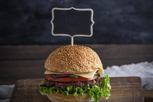 hamburger with meat patty