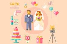 Wedding vector flat illustration