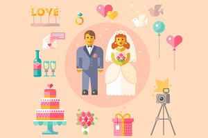 Wedding vector flat illustration