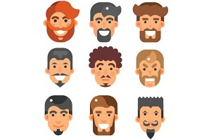Vector flat bearded male heads set