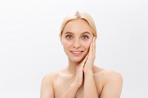 Beautiful skin woman face closeup