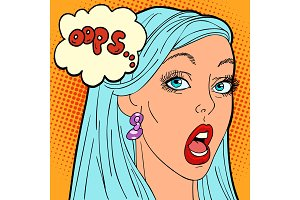 oops pop art woman