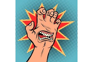 mouth emotion anger hand scratch