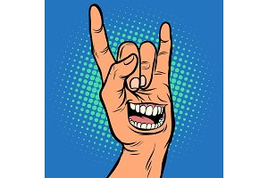 smile emotion, men hand rock gesture