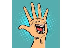 smile joy emotion hi five hand