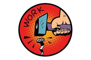work symbol, hammer nail