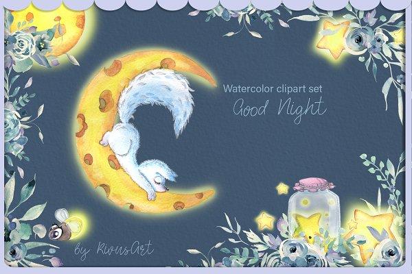 Night Arctic Fox watercolor animals…