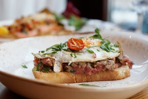 Sandwich with beef tartar